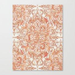 Autumn Peach Art Nouveau Pattern Canvas Print