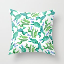 Watercolor hand painted violet green cactus floral Throw Pillow