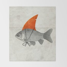 Goldfish with a Shark Fin Throw Blanket