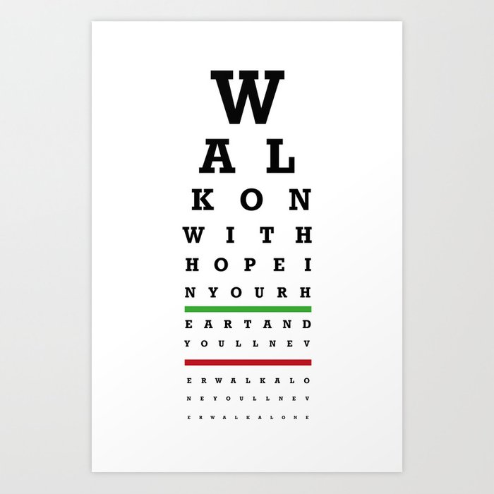 picture relating to Eye Chart Printable named Eye Chart - Liverpool FC - Youll Under no circumstances Stroll On your own Artwork Print as a result of twelfthman