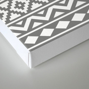 Aztec Essence Ptn III White on Grey Canvas Print