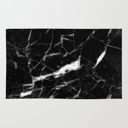 modern chic minimalist abstract black marble Rug