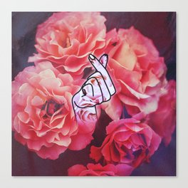 Love Finger Snap Floral Canvas Print