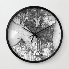 Vintage Map of Seattle Washington (1908) BW Wall Clock