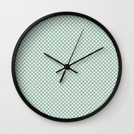 Grayed Jade and White Polka Dots Wall Clock