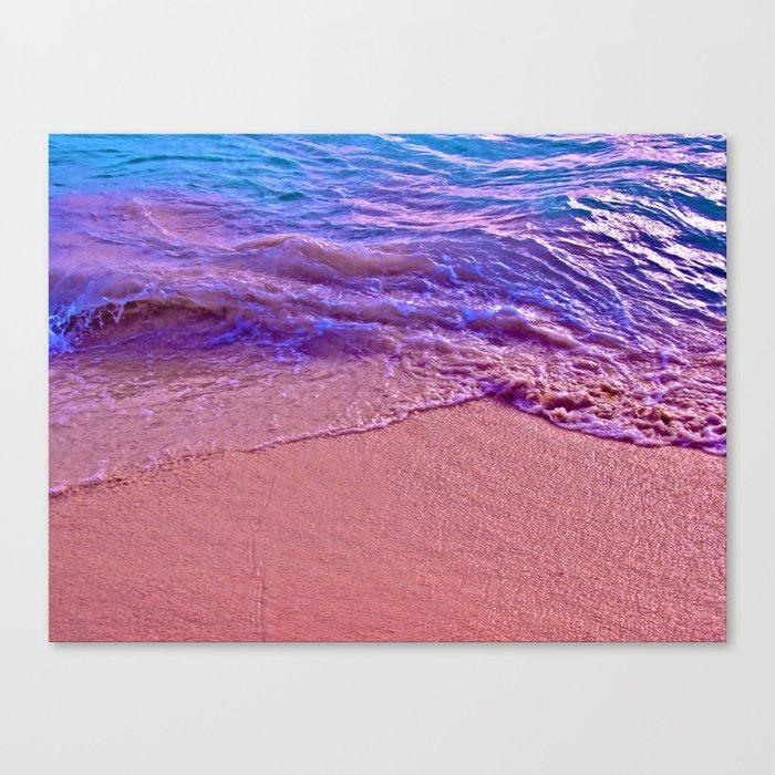 Sand Meeting Beautiful Waves Canvas Print
