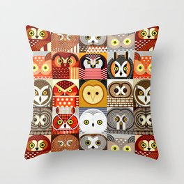 North American Owls Throw Pillow