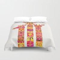 giraffes Duvet Covers featuring Giraffes – Fiery Palette by Cat Coquillette