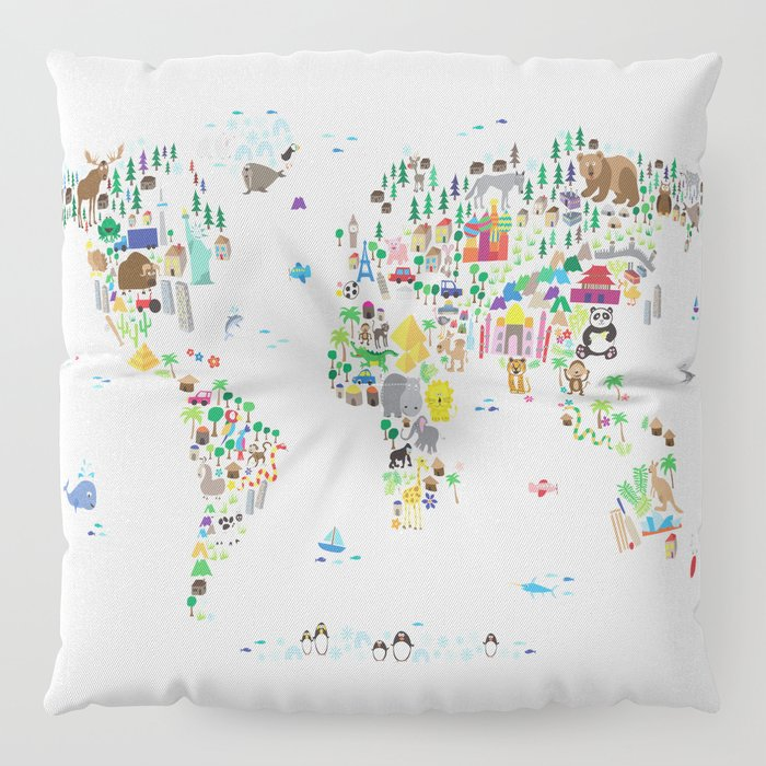 Animal Map of the World for children and kids Floor Pillow by ...