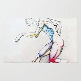 31 (Over), Male nude athletic figure, NYC artist Rug