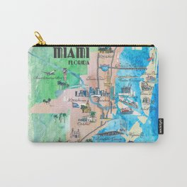 Miami Florida Fine Art Print Retro Vintage Map with Touristic Highlights Carry-All Pouch