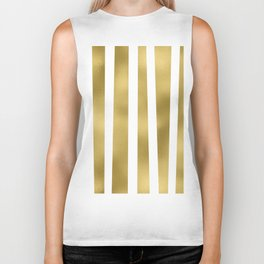 Gold unequal stripes on clear white - vertical pattern Biker Tank