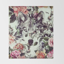 Floral Wolf Throw Blanket