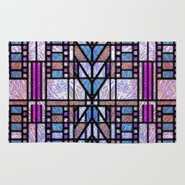 Purple and Blue Art Deco Stained Glass Design Rug