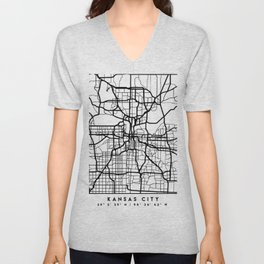 KANSAS CITY MISSOURI BLACK CITY STREET MAP ART Unisex V-Neck