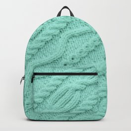 Seafoam Mint Cableknit Backpack