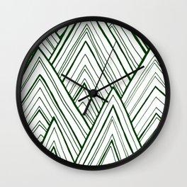 Stripe Mountains - Dark Green Wall Clock