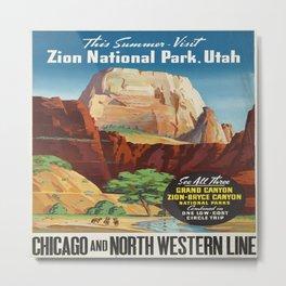 Vintage poster - Zion National Park Metal Print