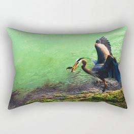 Great Blue Heron with Herring Rectangular Pillow