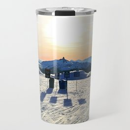 The snow, signs, shadows, sun, sky - and the surrounding! Travel Mug