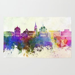 Lodz skyline in watercolor background Rug