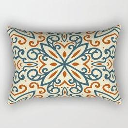 Decorative Floral Pattern 2 - Tahuna Sands, Blue Dianne, Peru Tan Rectangular Pillow