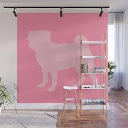 Pastel Pink Pugs Pattern Wall Mural