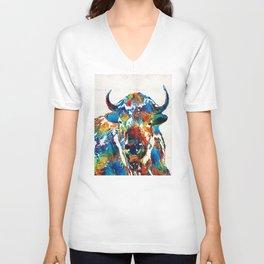 Colorful Buffalo Art - Sacred - By Sharon Cummings Unisex V-Neck