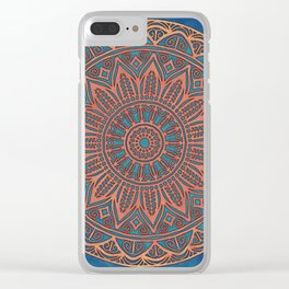 Wooden-Style Mandala Clear iPhone Case
