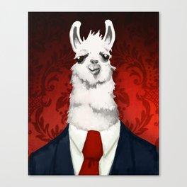 Formal Llama - Red Canvas Print