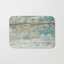 Rustic Wood Turquoise Weathered Paint Wood Grain Bath Mat