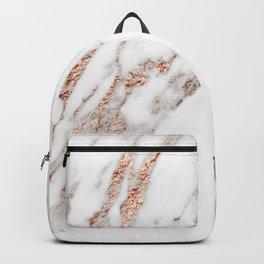 Rose gold foil marble Backpack