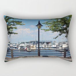 Riverfront Scene Rectangular Pillow