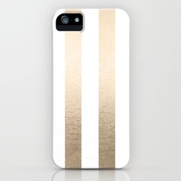 Simply Vertical Stripes in White Gold Sands iPhone Case