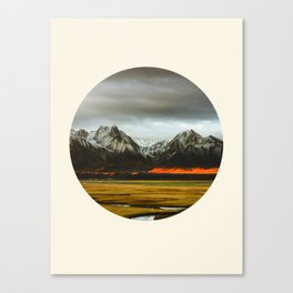 Iceland Landscape Grass Orange Sand & Grey Mountains Round Frame Photo Canvas Print