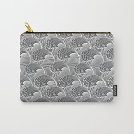 Vintage Japanese Waves, Gray / Grey and White Carry-All Pouch