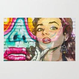 Retro Pinup Girl & Colorful Graffiti Wall Rug