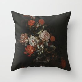 Jacob Campo Weyerman - Bouquet of flowers with roses, passion flower and bindweed - 1700-1720 Throw Pillow