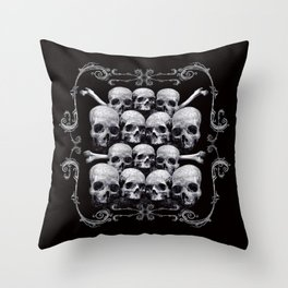 Skulls and Filigree - Black and White Throw Pillow