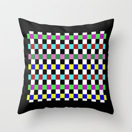 Retro 3 - Abstract, multicoloured, bold, chekkered, checkered pattern Throw Pillow