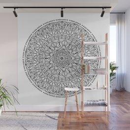 Circle of Life Mandala Black and White Wall Mural