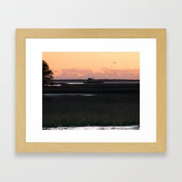 Early Morning Barge Framed Art Print