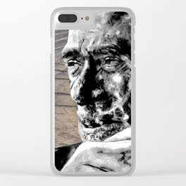 Hank on wood Clear iPhone Case