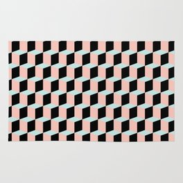 Geometric Pink and Green Pattern Rug