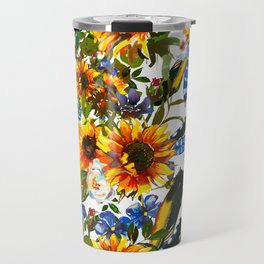 Abstract navy blue yellow watercolor sunflowers pansies pattern Travel Mug