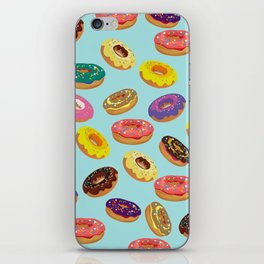 Donuts Pattern Kitchen Home Decor Sky Blue Art Print Donuts Poster Decoration Cartoon Graphic Design iPhone Skin