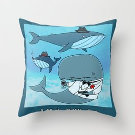 A MOB OF WHALES Throw Pillow
