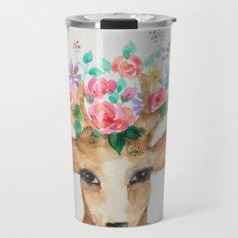 Deer with Flower Crown Travel Mug