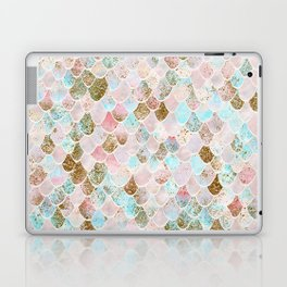 Wonky Watercolor Sea Foam Glitter Mermaid Scales Laptop & iPad Skin