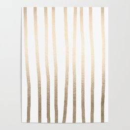 Simply Drawn Vertical Stripes in White Gold Sands Poster